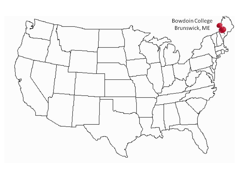 Bowdoin College Manuscript Road Trip - Us in 1800 black and white map