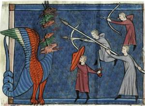 The Dragon waging War, from a manuscript of The Apocalypse, France, ca. 1295 (Detroit Institute of Arts, Acc. 1983.20A, recto)