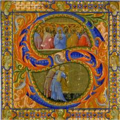 Pentecost in the letter S, from Florence, Santa Maria Nuova, before 1405 (Detroit Institute of Arts, 37.133.A)