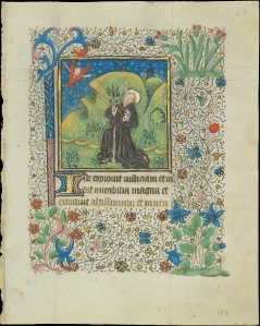 St. Francis receiving the Stagmata (Univ. of Notre Dame, Hesbergh Library, Frag. III 1, f. 48 recto)