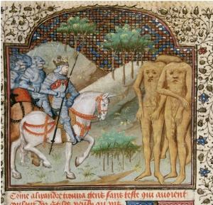 Alexander encounters the Blemmyae (from the 'Talbot Shrewsbury book', Rouen, 1444) (British Library, MS Royal 15 E VI , f. 21v)