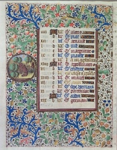 Calendar page from a Book of Hours attributed to the Coetivy Master (Grinnell College Art Collection, Acq. 1987.59)