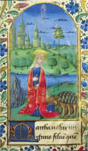 St. Martha and the Tarasque (Book of Hours, France, 1460-80) (Haggerty Museum of Art, Acc. 854.19)