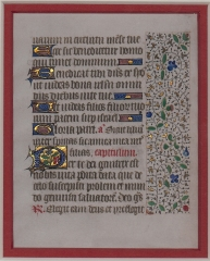 Leaf from a Book of Hours, s. XV (Photo courtesy of Regis University Archives and Special Collections)