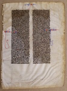 Leaf from a Bible in Latin, ca 1250. Archives and Special Collections, Maureen and Mike Mansfield Library, University of Montana-Missoula (224.147 B58228L), recto