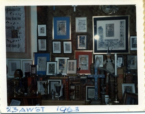 Gareth Hughes' leaf collection on the wall of his cottage at the Motion Picture Country Home, ca. 1963