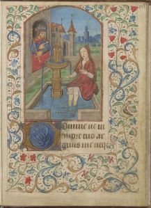 David admiring Bathsheba's bare calves (somehow I think the Spanish Forger would have handled this moment differently) (UC Berkeley, Bancroft MS 131, f. 141)