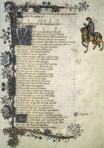 The Ellesmere Chaucer, Knight's Tale (Henry H. Huntington Library,  mssEL 26 C9, f. 10r)