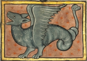 A Winged Dragon, from a Franco-Flemish Bestiary, fourth quarter of 13th century (after 1277) (The J. Paul Getty Museum, Los Angeles, Ms. Ludwig XV 4, fol. 94, detail)
