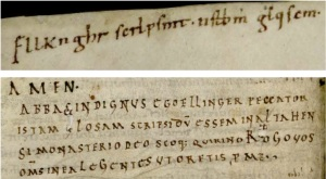 Univ. of Texas, Austin, HRC MS 29, Abbot Ellinger's cipher (f. 15) and colophon (f. 103v)