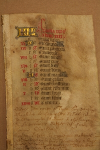 Calendar leaf for April from a mid-15th-century Book of Hours, with extensive annotations by members of the Dumesnil family.