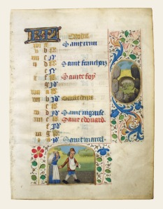 French; Latin text LEAF FROM A BOOK OF HOURS, OCTOBER CALENDER, ca. 1450 Ink and gilt Memphis Brooks Museum of Art, Memphis, TN; Brooks Memorial Art Gallery Purchase, 56.30