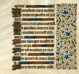 Book of Hours, Vie de Sainte Marguerite lines 208-216, France, s. XV med (Tulane University, Howard-Tilton Memorial Library, s.n.)