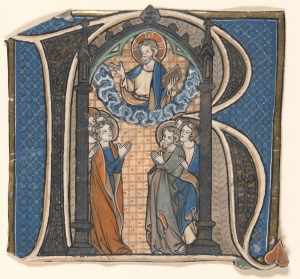 Christ with Saints within the letter [R] (Ackland Art Museum Acq. 65.6.1)