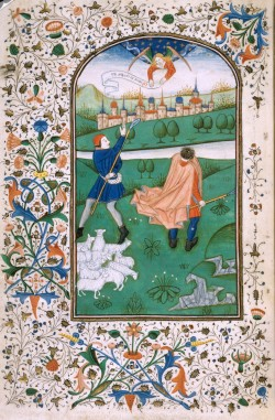 Annunciation to the Shepherds (UNC Chapel Hill, MS 10, f. 54v)