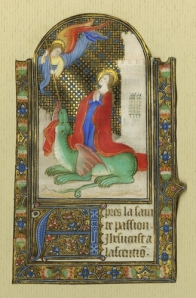 St. Margaret emerging from the Dragon, from a Book of Hours (France, s. XV 2/4) (Vanderbilt Fine Arts Gallery Acq. 1983.014)