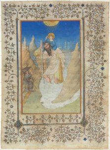 Limbourg Brothers, Saint Christopher Carrying the Christ Child, Netherlandish, active 1406 - 1416, c. 1409, miniature on vellum, Rosenwald Collection
