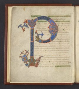 One of my favorites, a ninth-century manuscript of Boethius (LJS 101, f. 1v)