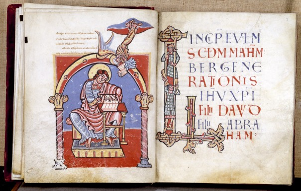 St. Matthew writing his Gospel (WAG W.17, ff. 8v/9) (ca. 1100)