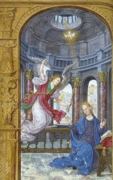 The Annunciation (WAM W.449, f. 32v) (Tours?, ca. 1524, attr. Jean de Mauléon)