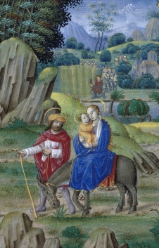 The Flight into Egypt (WAM W.452, f. 79v) (Tours?, ca. 1520, attr. Jean Pichore)