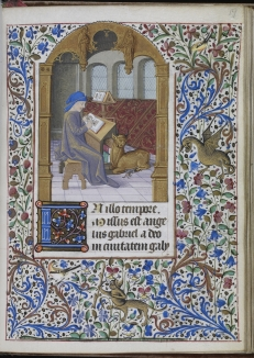 St. Luke writing his Gospel (WAM W.249, f. 19) (Troyes, ca. 1470)
