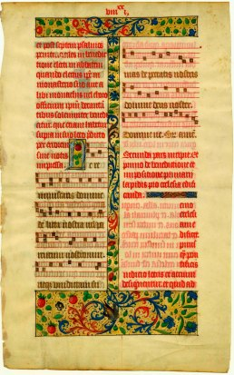 Leaf from the pontifical made for Charles-Orland, son of Charles VIII and Anne de Bretagne (Fordham University, Walsh Library, Archives and Special Collections, MS Item 05, ca. 1495). The remainder of the volume was later owned by Estelle Doheny (Faye and Bond, Supplement, p. 12 n. 42), then sold with her collection at  Christie's, London, 2 Dec. 1987, lot 172, to   Tenschert.