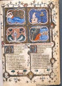Le roman de la rose (Garrett MS. 126, f. 1) (Manuscripts Division, Department of Rare Books and Special Collections, Princeton University Library)
