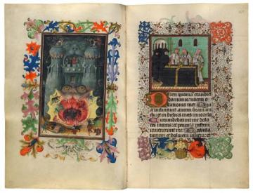 Hellmouth (left) and Burial (right) (Hours of Catherine of Cleves, a.k.a. MS M.945 (Utrecht, ca. 1440), ff. 168v/169)