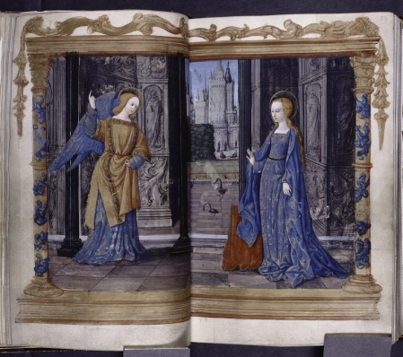 The Annunciation (Book of Hours, France (Bourges) ca. 1505-1510) (NYPL Spencer MS 6, ff. 32v/33)