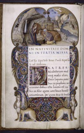 The Nativity (Lectionary, Padua, ca. 1501-1511, illuminated by Antonio Maria da Villafora and another Paduan master, written by the great humanist Bartolomeo Sanvito) (NYPL Spencer MS 7, f. 1v)