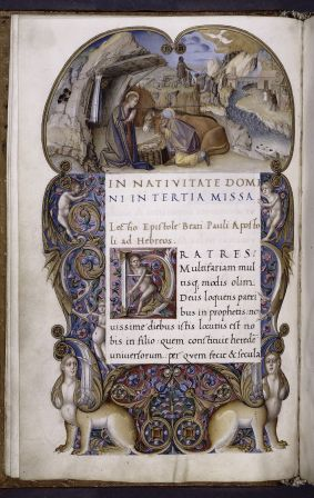The Nativity (Lectionary, Padua, ca. 1501-1511, illuminated by Antonio Maria da Villafora and another Paduan master, written by the great humanist Bartolomeo Sanvito) (NYPL Spencer MS 7, f. 1v)