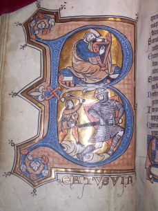 "King David playing the harp (above) and defeating Goliath (below), inhabiting the letter B (for ""Beatus vir,"" the beginning of Psalm 1) (BPL MS f. Med. 84, f. 14v)"