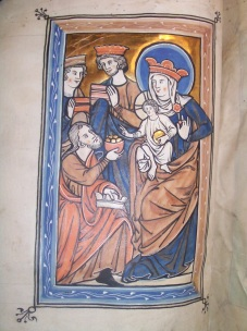 The Adoration of the Magi (BPL MS f. Med. 84, f. 8v)