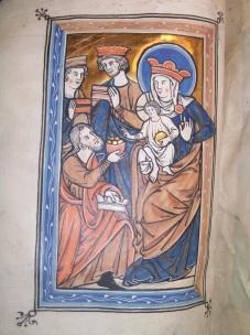 The Adoration of the Magi (BPL MS f. Med. 84, f. 8v)
