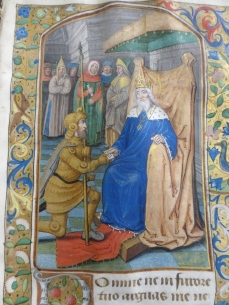 King David handing marching orders to Uriah (Penitential Psalms, Penrose Hours, St. George's School)