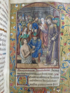 The Raising of Lazarus (note the anachronistic illustration of an indoor crypt as opposed to an outdoor sarcophagus) (Office of the Dead, Penrose Hours, St. George's School)