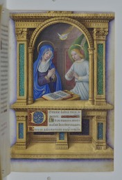 The Annunciation, Jean Bourdichon, Book of Hours, 1490-1515, manuscript, p. 34 (Isabella Stewart Gardner Museum, Boston)