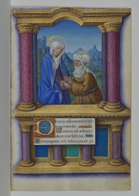 The Visitation, Jean Bourdichon, Book of Hours, 1490-1515, manuscript, p. 46 (Isabella Stewart Gardner Museum, Boston)