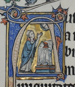 Priest praying over the Host (Oberlin College, Allen Memorial Art Gallery, Acc. 1993.16 recto, detail)