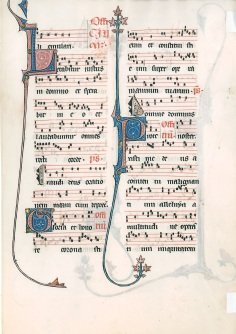 Typical Missal page with music (Michigan State Univ., Mapcase MSS 325, no. 2 recto)